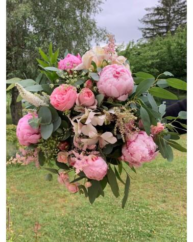 Bouquet PASTEL rose pâle - pivoines et eucalyptus