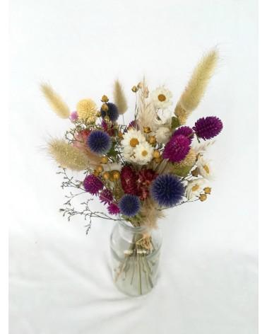 Bouquet de chardons gomphrena et queue de lapin